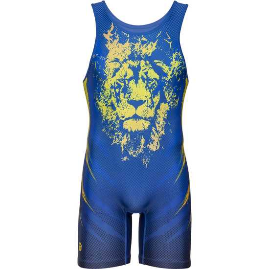 WM Lion Heart Singlet-Navy-Royal-Yellow