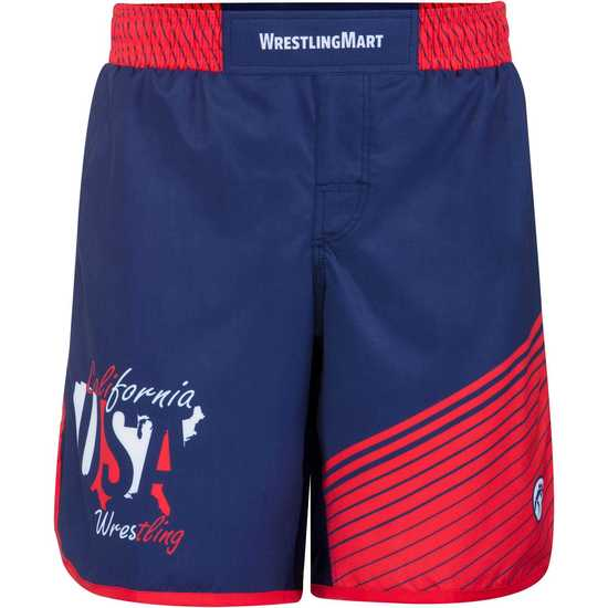 WrestlingMart CAUSAW Never Fade Fight Shorts-Navy-Red