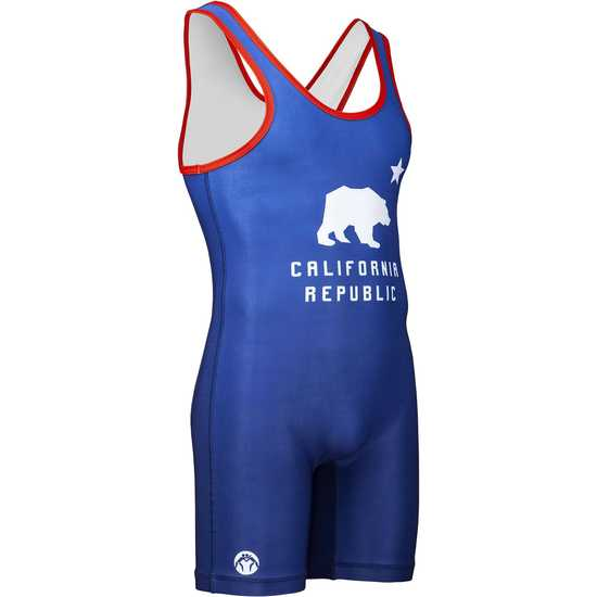 WrestlingMart CA Republic Singlet-Blue