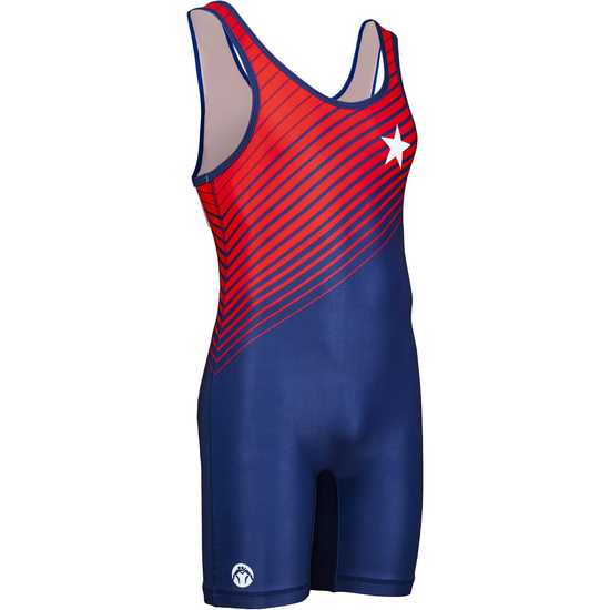 WrestlingMart Never Fade Singlet-Navy-Red