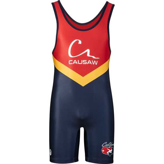 WrestlingMart CAUSAW Mens Gold Standard Singlet-Navy-Red