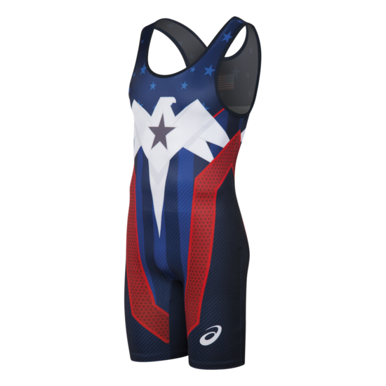 ASICS Lightning Strike Singlet- Navy-Red-White