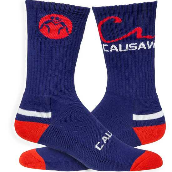 WrestlingMart CAUSAW Sock-Navy-Red-White