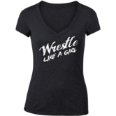 WrestlingMart Wrestle Like a Girl Shirt (Black,White,Clothing Adult,S) Black White main